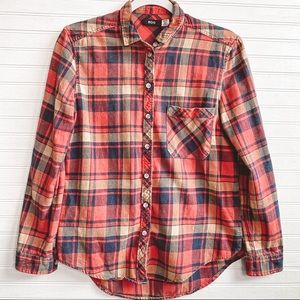 BDG Long Sleeve Button Down Plaid Red Top XS